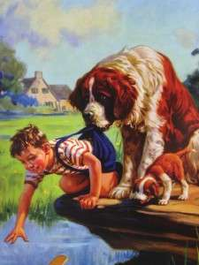 LITTLE BOY REACHES FOR TOY AIRPLANE IN STREAM AS HUGE ST BERNARD DOG