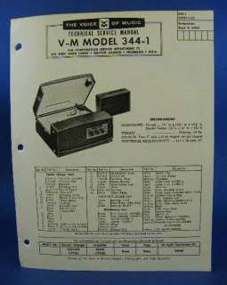 Voice of Music Service Manual Model 344 1 Record Player |