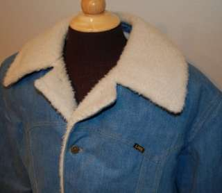AWESOME Vtg 70s LEE STORM RIDERS sherpa lined DENIM LONGER RANCH COAT