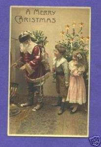 HTL20 Hold to Light Santa Claus postcard, Children