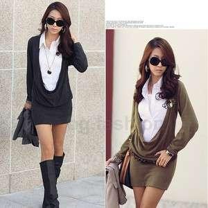 OL Womens Faux 2 Pcs White Shirt Cowl Neck Long Sleeve Mini Dress 3