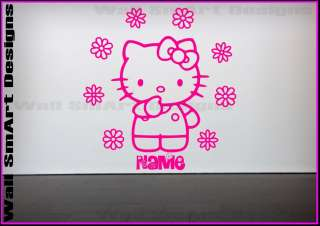 Hello Kitty Flowers Personalised Wall Sticker Girls bedroom Decorative