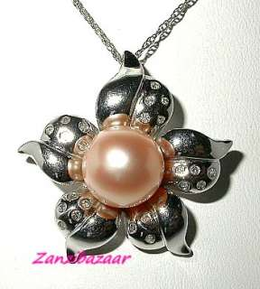 FABULOUS 14K WHITE GOLD PINK PEARL & DIAMOND FLOWER PENDANT