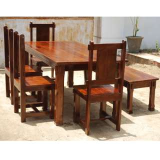 Cherry Solid Hard Wood Rustic Dining Table 4 Chairs & Bench Set for 6