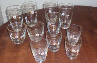 LOT 11 VTG DRINKING GLASS JUICE TUMBLER GLASSES RC GOLD