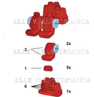 121B Set Coprisedili Auto Blu FLASH AIRBAG Fiat Marea Weekend Punto