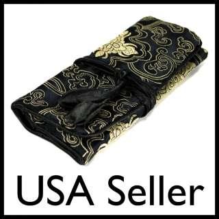 BAG Roll Case Pouch Carrying Brocade Zipper Fabric Black NEW