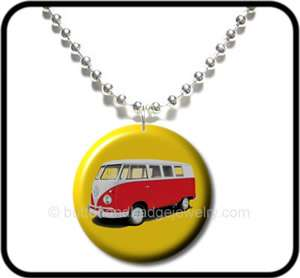 VW CAMPER VAN* Retro Kitsch 70s Van Button NECKLACE
