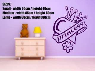 Princess Heart Crown Girls Room Wall / Car Sticker FREE P&P 35 COLOURS