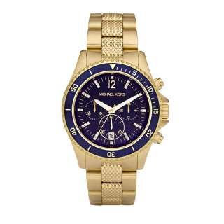 KORS GOLD CHRONOGRAPH BLUE DIAL CRYSTAL WATCH MK5438 NEW