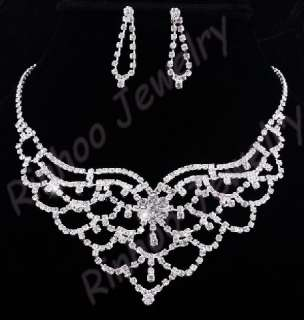 Austrian Rhinestone Crystal Clear Necklace&Earrings set
