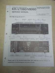 Vtg Kenwood Service/Repair Manual~KR V7060/V8060 Receiver~Original