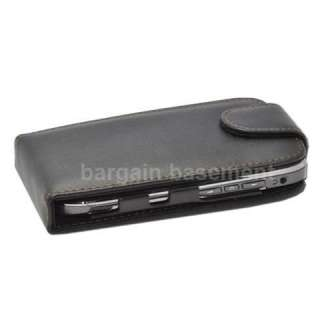 BLACK LEATHER FLIP CASE COVER FOR NOKIA E71