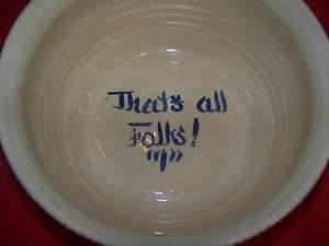 MARSHALL POTTERY USA E.J. HUMPHRIES HUGE STONEWARE POPCORN IS FOR