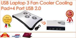 USB 2.0 Cooler Cooling Pad 3 Fan LED 4 Port Hub For Laptop Netbook
