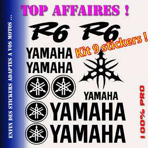 Kit planche 9 Stickers YAMAHA logo R6 Racing YZF YAMR63