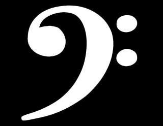 BASS CLEF VINYL WINDOW DECAL WHITE 5X5 MUSIC PIANO BAND