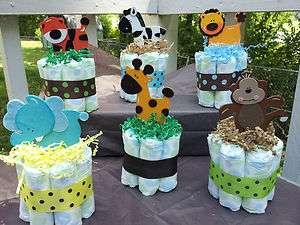 Jungle Safari theme mini diaper cakes baby shower centerpiece!!!