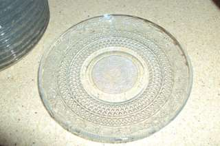 VTG KIG INDONESIA PRESSED CLEAR GLASS BREAD PLATES