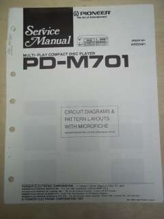Pioneer Service Manual~PD M701 CD Player~Original~Repair