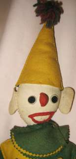Vintage FELT CLOWN DOLL Green & Gold 1940s?