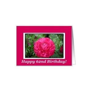 Happy 62nd Birthday, Blank Pink flower Card: Toys & Games