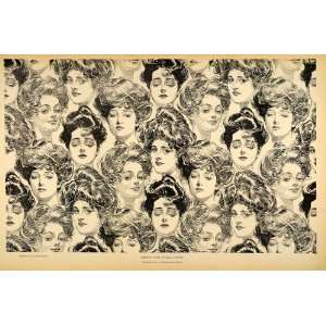 1906 Charles Dana Gibson Girls Wallpaper Design Print   Original