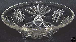 Prescut Anchor Hocking Star David 3 footed round bowl