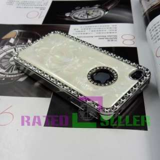 Rhinestone Marble Designer Hard Case Cover iPhone 4 4S 4G S White