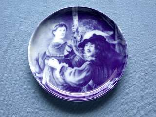 German Blue China Rembrandt and Saskia Collector Plate