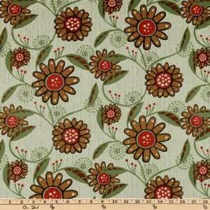 45 Wide Bryant Park Daisies Brown/Mint Fabric By The