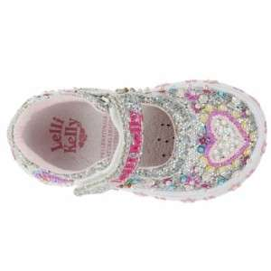 Lelli Kelly LK8077 Glitter Cuori Mary Jane Silver shoes