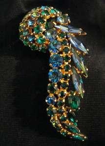 Stunning Blue Green Rhinestone Vintage Brooch