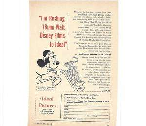 RARE 1953 Mickey Mouse Walt Disney 16mm Films Ad