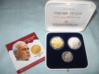 ISRAEL 1995 YITZHAK RABIN SET 1oz PURE GOLD +2 SILVER COINS