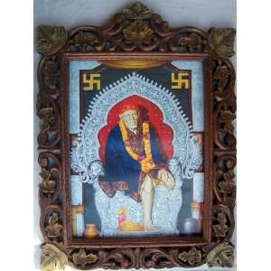 Lord Sai Baba Poster Painting in wood Craft Frame