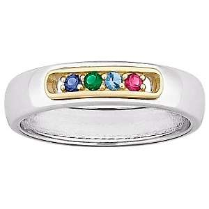 Silver 2 Tone Mothers Birthstone Color Crystal Band Ring