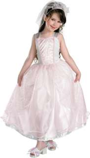 My Wedding Day deluxe costume iincludes one piece white gown with pink