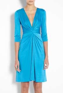 Issa  Aquamarine Gather Waist Silk Jersey Dress by Issa
