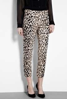 Tibi  Cheetah Print Stretch Sateen Trousers by Tibi