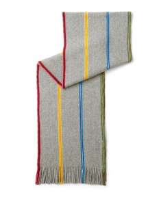 Paul Smith Accessories  Grey Soft Cotton Rib Neon Stripe Scarf by