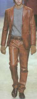 Mens Tan Brown Bespoke Custom Made Leather Slim Fit Suit Blazer
