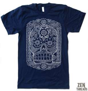 Mens SUGAR SKULL american apparel t shirt tee S M L 2XL