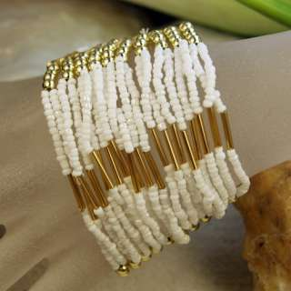 Nice Multic White Seed Glass Alloy Beads Cuff Bracelets