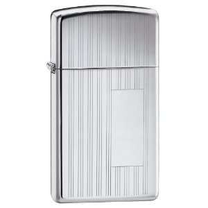Zippo Slim High Polish Chrome Lighter w/ Engraving Window