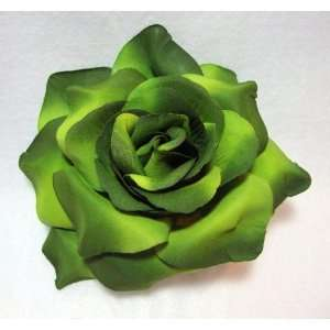 NEW Green Rose Hair Flower Clip Pin and Pony Tail, Limited