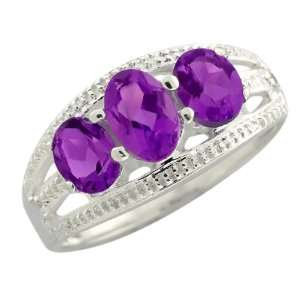 1.20 Ct 3 Stone Purple Amethyst Sterling Silver Ring Jewelry
