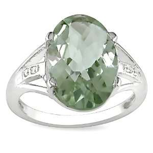 Sterling Silver Green Amethyst and White Topaz Ring, Size 9 Jewelry