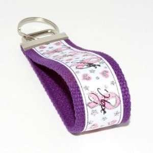Cancer Awareness 5   Purple   Keychain Key Fob Wristlet Automotive