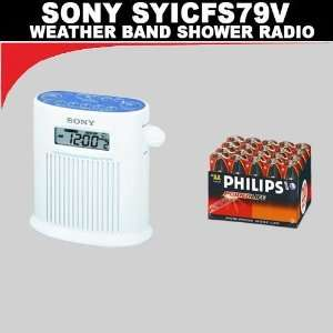 Sony ICFS79V Weather Band Shower Radio + 20 Pack Philips Power Life AA